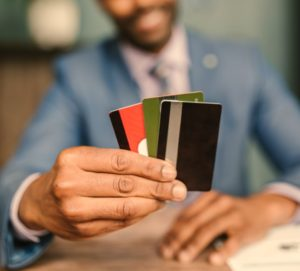 Close up picture of three kinds of credit cards