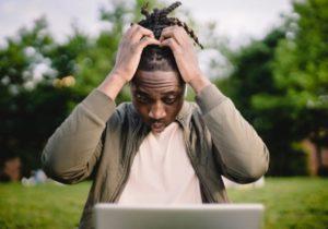 a man that's having a credit score mistake