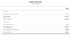 Billable expenses profil and loss statement
